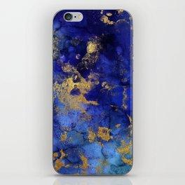 Gold And Blue Indigo Malachite Marble iPhone Skin