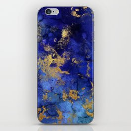 Gold And Blue Indigo Malachite Marble iPhone Skin
