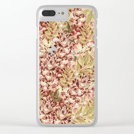 Vintage boho mauve pink dusty green floral Clear iPhone Case