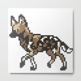 8-bit African Wild Dog Metal Print