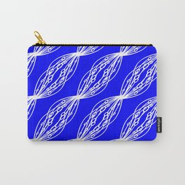 White molecular helix with diagonal circles on a blue sea background. Carry-All Pouch