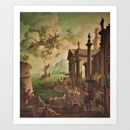 Ulysses Farewell to Penelope Seaport Landscape by Rex Whistler Art Print