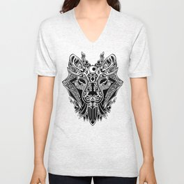 WOLF FACE TRADITIONAL BLACK AND WHITE Unisex V-Neck