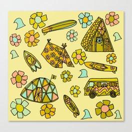 wanderlust // dream homes among the waves // surfy birdy art Canvas Print