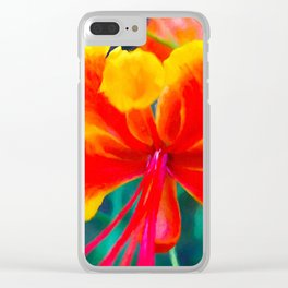 Peacock flower 3 Clear iPhone Case