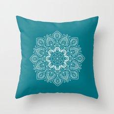 Flower Mandala in White on Elegant Teal Throw Pillow