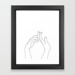 Hands line drawing illustration - Abi Framed Art Print