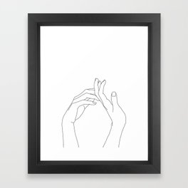 Hands line drawing illustration - Abi Framed Art Print