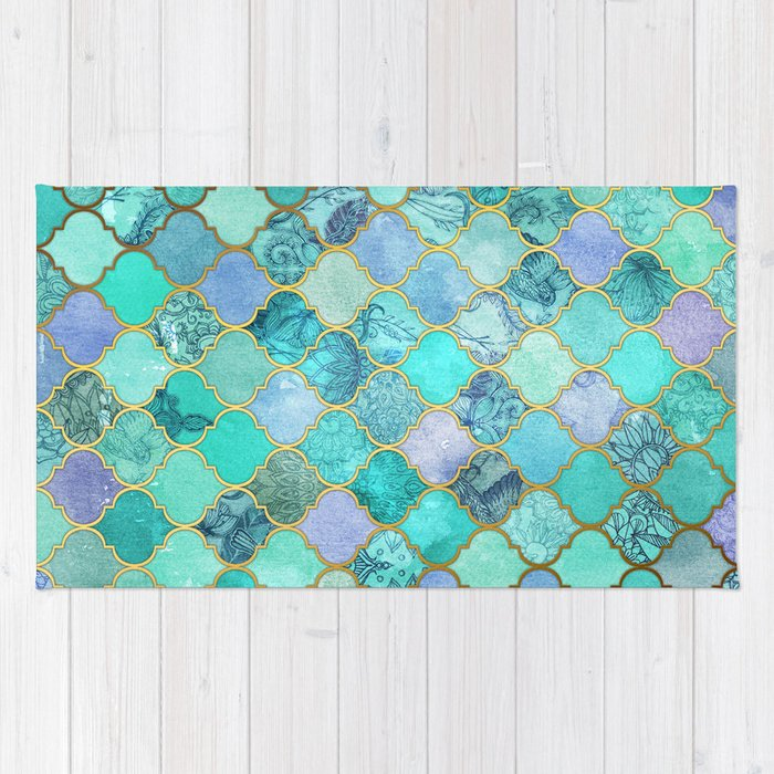 Cool Rug Designs In Cool Jade u0026 Icy Mint Decorative Moroccan Tile Pattern Rug By Micklyn