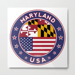 Maryland, Maryland t-shirt, Maryland sticker, circle, Maryland flag, white bg Metal Print