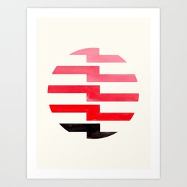 Minimalist Mid Century Circle Frame Red Zig Zag Colorful Lightning Bolt Geometric Pattern Art Print