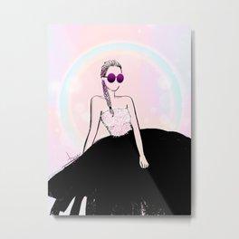 PINK BLUSH BRAID Metal Print
