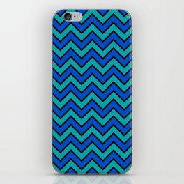 Geometric modern black blue green chevron pattern iPhone Skin