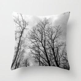 Creepy black and white trees Throw Pillow