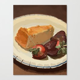 Cheesecake Souffle and Chocolate Strawberries Canvas Print