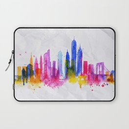 Silhouette overlay city New york Laptop Sleeve