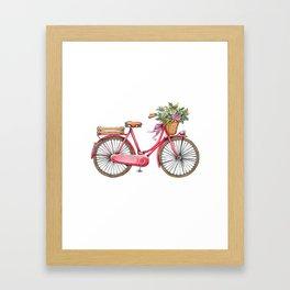 Cute watercolor vintage bike print. Framed Art Print