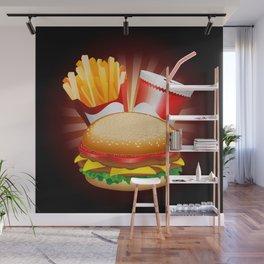 Fast Food Hamburger Fries and Drink Wall Mural
