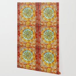 "Alphonse Mucha ""Pattern with leaves"" Wallpaper"