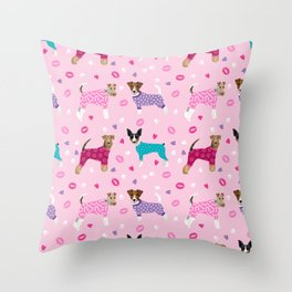 Terriers dog pattern dog lover gifts for dog person dog breeds pet friendly Throw Pillow