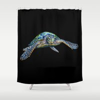 sea turtle Shower Curtains featuring Sea Turtle by Tim Jeffs Art