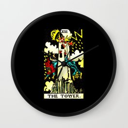 Vintage Tarot Card The Tower Wall Clock