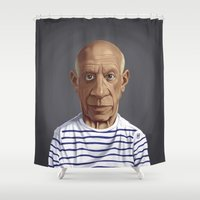 picasso Shower Curtains featuring Celebrity Sunday ~ Pablo Picasso by rob art | illustration