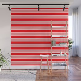 Large Horizontal Christmas Holiday Red Velvet and White Bed Stripe Wall Mural