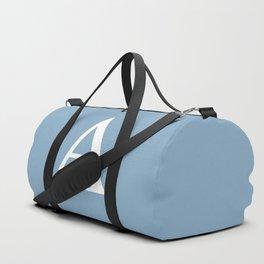 Letter A sign on placid blue color background Duffle Bag