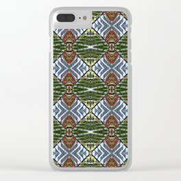 Royal Poinciana Fronds Diamond OP Pattern Clear iPhone Case