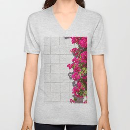 Bougainvilleas and White Brick Wall in Palm Springs, California Unisex V-Neck
