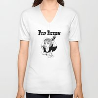 pulp fiction V-neck T-shirts featuring Pulp Fiction by ☿ cactei ☿