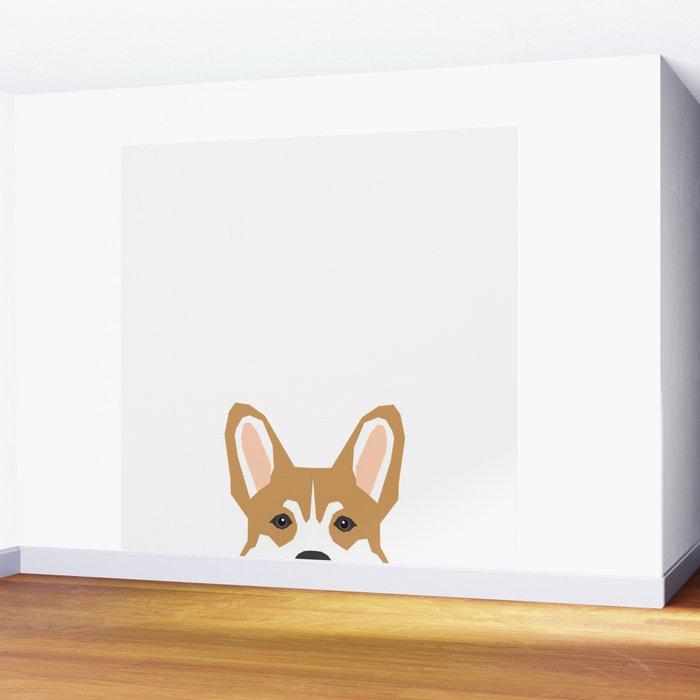 Welsh corgi peeking head corgis dog breed cute pet gifts Wall Mural