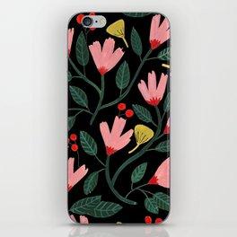 Pink Floral Pattern on Black iPhone Skin