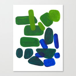 Mid Century Vintage Abstract Minimalist Colorful Pop Art Phthalo Blue Lime Green Pebble Shapes Canvas Print