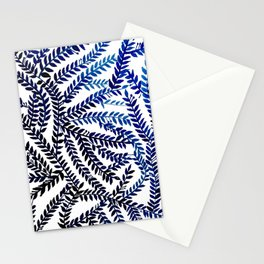 Meandering Leaves: blue Stationery Cards