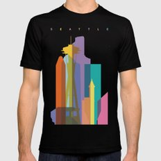 Shapes of Seattle accurate to scale Mens Fitted Tee Black X-LARGE