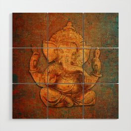 Lord Ganesh On a Distress Stone Background Wood Wall Art