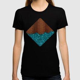Aqua blue sparkles broken rustic brown wood T-shirt