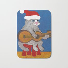 Christmas Cat Playing a Guitar and Wearing a Santa Hat Bath Mat