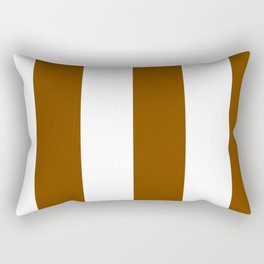 Wide Vertical Stripes - White and Chocolate Brown Rectangular Pillow