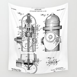 Fire Fighter Patent - Fire Hydrant Art - Black And White Wall Tapestry