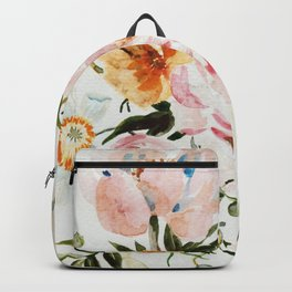Loose Peonies & Poppies Floral Bouquet Backpack