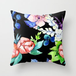 Contemporary, Chic, Floral Bouquet Watercolor Print Throw Pillow