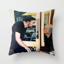 Ricky Gervais and Larry David Stare Down Throw Pillow