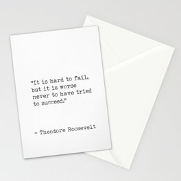 Theodore Roosevelt inspirational quote Stationery Cards