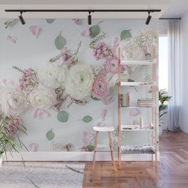 SPRING FLOWERS WHITE & PINK Wall Mural
