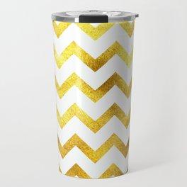 White & Gold Chevron Travel Mug