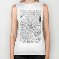 dallas Biker Tanks featuring Dallas Map Gray by City Art Posters