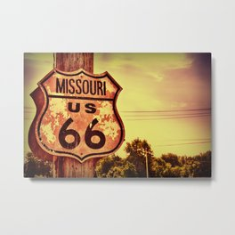 Historic route 66 highway sign. Metal Print